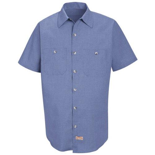 ric Micro-Check Work Shirt, Denim Blue Micro Check, Short Sleeve Large ()