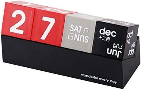 Glossia DIY Quadrat Ewiger Kalender Kalender Desktop Kalender Kreative Perpetual Kalender Desktop Dekoration
