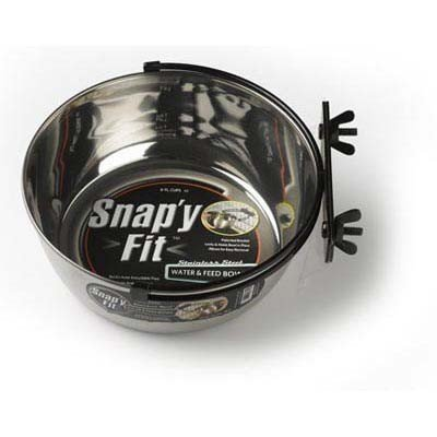 MidWest Metals Stainless Steel Snap'y Fit Water and Feed Bowl 10 oz, My Pet Supplies