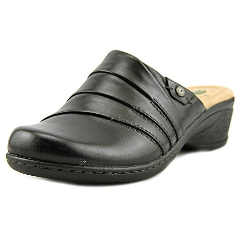 Earth Origins Womens Ginger Black Leatherclogs-and-mules-shoes 7.5 B(M) US vkokt