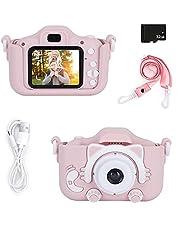 Kindercamera Digitale camera voor kinderen, mini-cartooncamera 1080P HD-videorecorder 32 GB SD-kaart / 2 inch IPS-scherm (A.Roze)