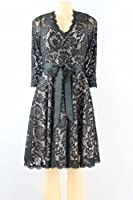 Betsy & Adam Beaded Floral Lace Flare Dress Black Nude Size 4