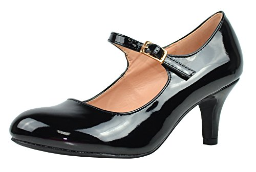 Chase & Chloe Women's Round Toe Mid Heel Mary Jane Pump (7 B(M) US, Black Patent)