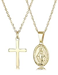 Finrezio 14K Gold-Plated Catholic Christian Jewelry Cross and Virgin Mary Pendant Necklace for Women Multilayer Necklace Set