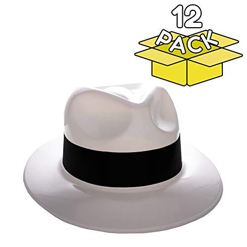 (Windy City Novelties Gangster Hat Fedoras (White w/Black)