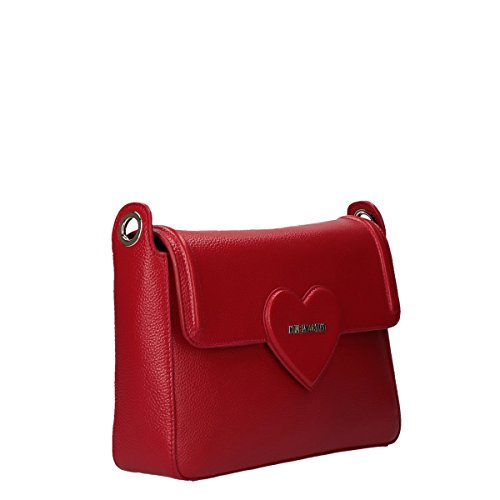 Love Moschino handbag with belt Embossed Pebble Calf red