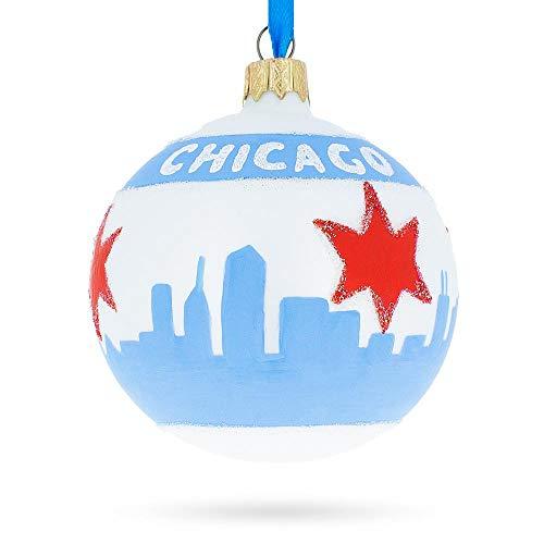 (BestPysanky Chicago Flag Glass Ball Christmas Ornament)