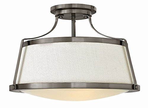 Hinkley 3522AN Transitional Three Light Semi Flush Mount from Charlotte collection in Pwt, Nckl, B/S, ()