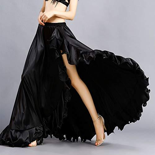 Vita Donne Flamenco Danza Ventre Gonne Di A Alta Smeela Nero Elastica Fessura Per Maxi Mascherata Ruffles Big Del Gonna Ampia Costume Swing Royal Abito 0qvxaX