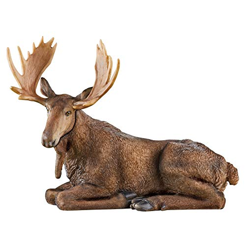 Collections Etc Adorable Decorative Sitting Moose Garden Statue Hand-Painted with Realistic Details and Intricate -