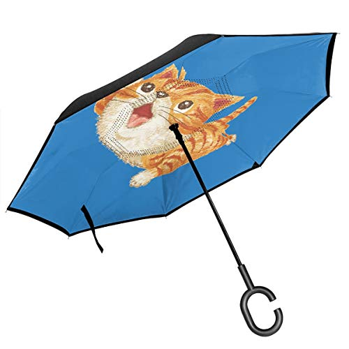 Reverse Inverted Umbrella Tabby Cat To Look Up At,Windproof And UV Resistant, Reversible Folding Double Opening, With C-shaped Handle