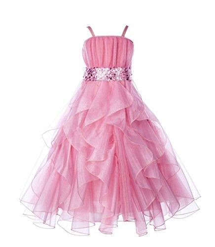 Petal Pink Strap Dress (ekidsbridal Wedding Stunning Organza Spaghetti-Straps Pleated Ruffled Flower Girl Dress Easter Toddler Bridal Pageant 009)