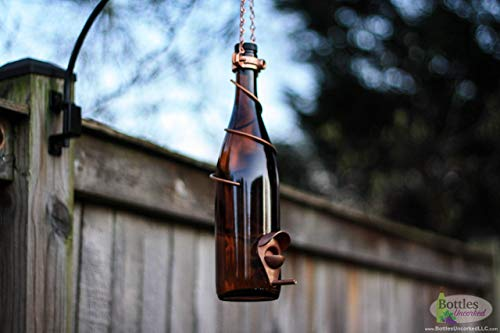 Amber and Copper Wine Bottle Bird Feeder - Gift for Mom - Outdoor - Patio - Handmade Wine Bottle Decor - Gifts for Women