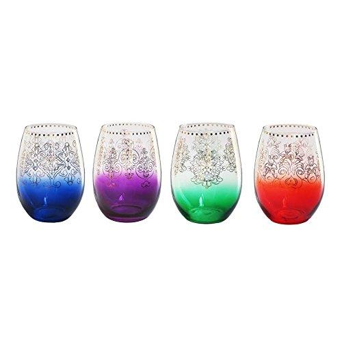 Tracy Porter Monogram Stemless Wine Glasses (Set of 4), Multicolor ()