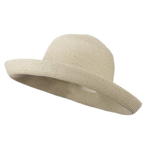 (Kettle Brim UPF 50+ Cotton Paper Braid Hat - White Tweed OSFM)