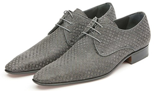 Mister Shoes Lace up Derby, kid suede with glossy grey decorative trims, Lining: kidskin leather, Leather sole.
