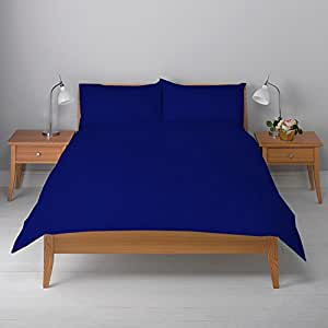 Stripe Pattern Super Soft Silky 400 Thread Count 100% Egyptian Cotton , Royal Blue Color , 9 Inch Deep Pocket Full { 3 PCs Duvet Cover + 1 Fitted Sheet }
