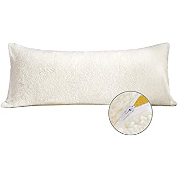 Sherpa Body Pillow Cover.Moma Sherpa Body Pillow Cover With Zipper Luxury Soft Removable Body Pillow Case Long Fuzzy Body Pillow Cover Long Pillow Case Cream 21 X54