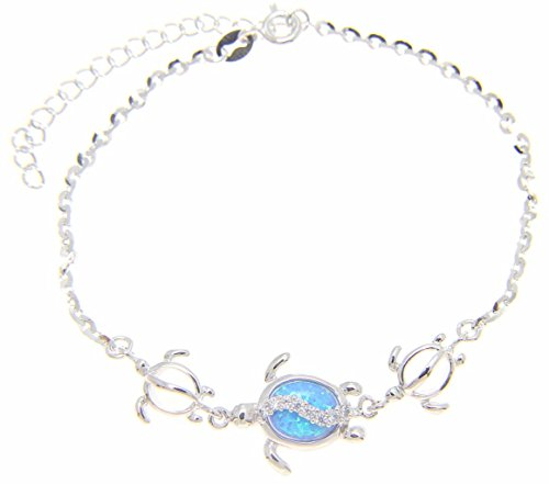 925 sterling silver Hawaiian honu sea turtle cz blue synthetic opal link chain anklet 9