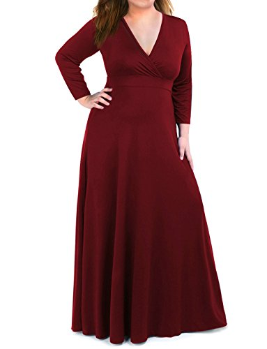 Moonlisa Plus Size Maxi Dress For Women With 3/4 Sleeves Deep V Neck Solid Color Wedding Evening Party Dress (XX-Large, Wine Red)