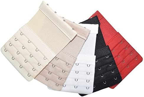 Elastic Back Bra Extender 4 Hook 3 Row 3/4 Stretchy Extension Tape Multi Color (5PCS Multi Color) [並行輸入品]