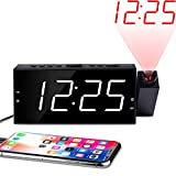 OnLyee Projection Ceiling Wall Clock, Alarm Clock, 7' LED Digital Desk/Shelf Clock with Dimmer, USB Charging, AC Powered...