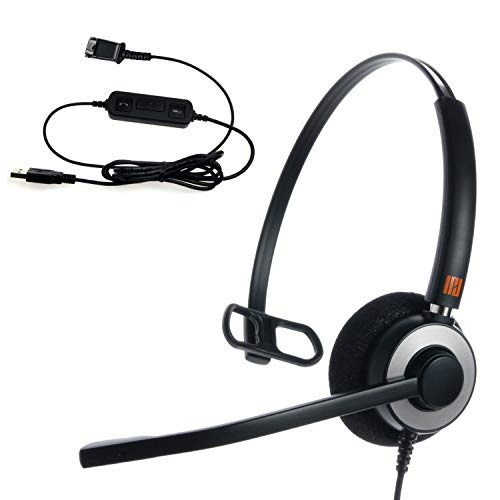 IPD IPH-160 Monaural Noise canceling,Corded Headset with USB Adapter to PC  with Mute Switch & Volume Controller for Skype, S4B & Softphones