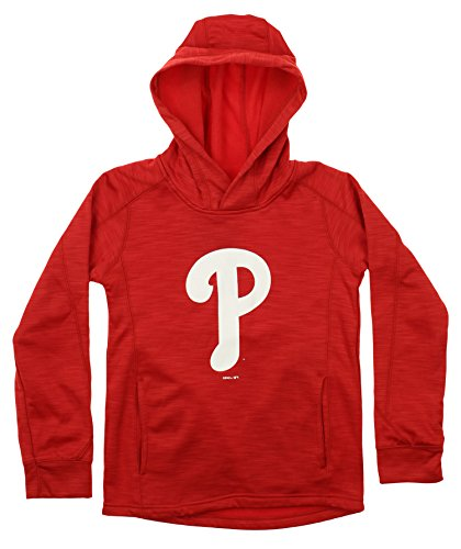 Outerstuff MLB Youth's Performance Fleece Primary Logo Hoodie, Philadelphia Phillies X-Large (18)