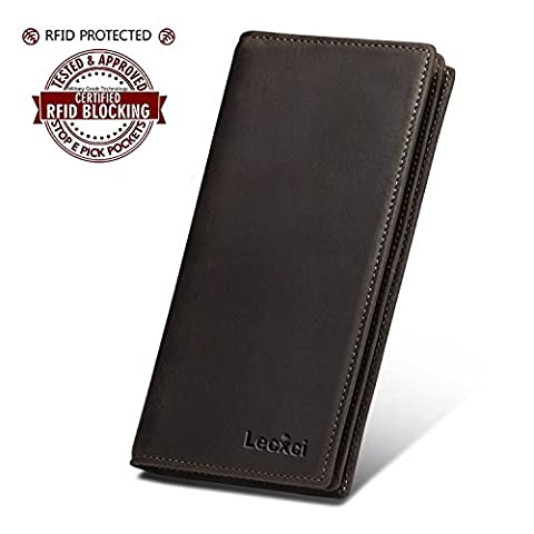 Lecxci Mens RFID Blocking Soft Vintage Leather Long Bifold Wallet with ID Window (Retro Brown) - Bi Fold Checkbook Wallet