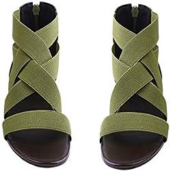UniqueFashion Women Summer Fashion Elastic Ankle Strap Open -Toe Flat Sandals Shoes