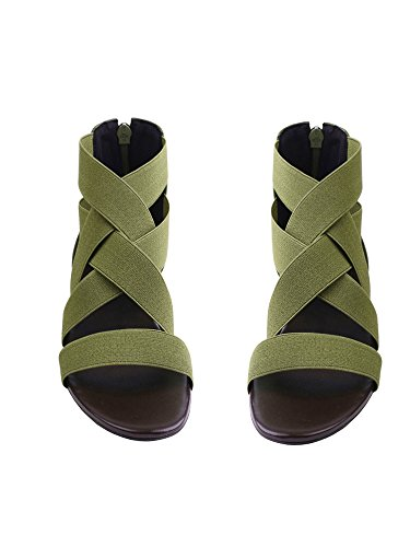 UniqueFashion Women Summer Fashion Elastic Ankle Strap Open -Toe Flat Sandals Shoes