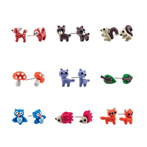 Minihope Cute Forest Animals Earrings For Kids Little Girls, Hypoallergenic Stud Earrings 9 Pair Sets
