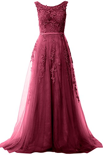 Gown Vintage Weinrot Boat Dress Party Prom Neck Lace Wedding Elegant Long MACloth Formal Pw0AqA