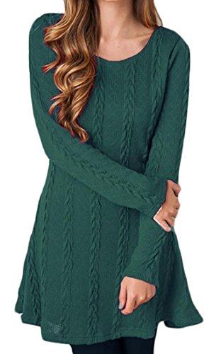 Manches Longues Femmes Domple Balançoire Tricot Évasé Partie Soir Mini Robe 2 #