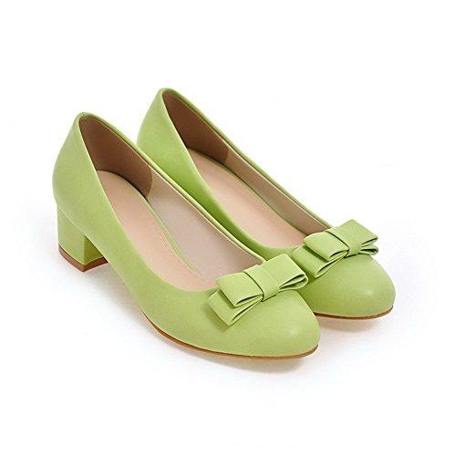 VogueZone009 Femme Couleur Unie PU Cuir à Talon Bas Rond Tire Chaussures Légeres Vert zWDR4dP2