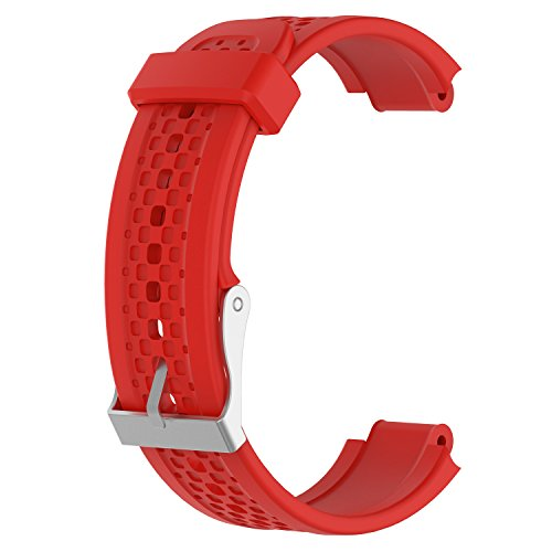 ECSEM Replacement Band Compatible with Garmin Forerunner 25 GPS Running Watch Wristband Fitness Tracker for Smartphone(Female Strap) (Red)