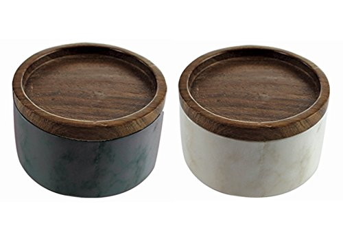Salt and Pepper Cellar Box Set of Two - Gray and White Marble Covered with Sheesham Wood Lid