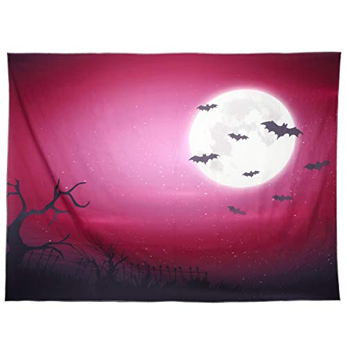 Lewondr Halloween Printed Tapestry, Wall Hanging Blanket Halloween Moon Tapestry Halloween Bat Tapestry for Living Room Bedroom Dormitory Home Festival Decoration 78 x 59, Large, Forest, Purple]()