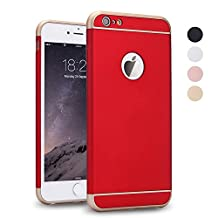 iPhone 5s Case, iPhone SE Case, iPhone 5 Case, SAUS 3 in 1 Ultra Thin and Slim Design Coated Premium Non Slip Surface with Excellent Grip Case Fit for Apple iPhone 5 / 5S / SE (Red)