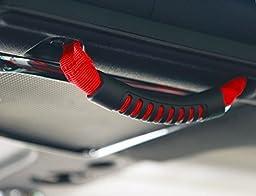 u-Box Red Windshield Pillar Grab Handle for Jeep Wranger JK Unlimited 4-Door (Pack of 4)