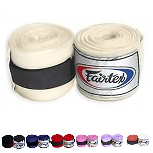 Fairtex Elastic Cotton Handwraps HW2 Hand Wraps Color Black Bleach Blue Red White Pink Purple Thaialnd used in Muay Thai, Boxing, Kickboxing, MMA (HW2, Bleach)