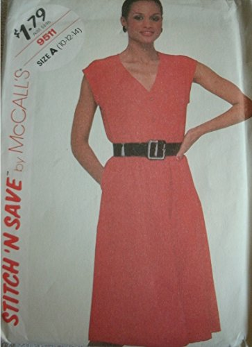 (Misses Sleeveless Pullover Dress Size 10-12-14 McCalls Stitch 'N Save Pattern 9511 Easy to Sew Vintage 1985)