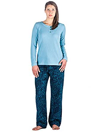 Womens Cotton Flannel Lounge Set - Leopard Blue - Small