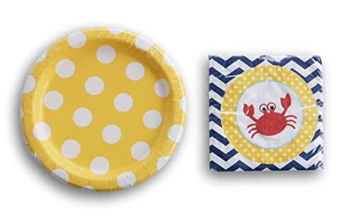 Unq Birthday Party Supply Kit Yellow Crab Pattern - Cake Plates and Beverage Napkins