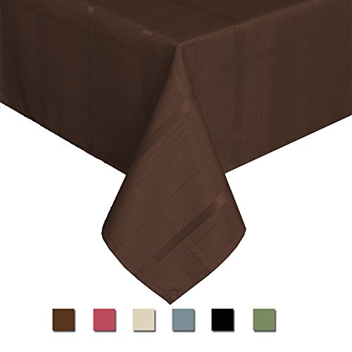 Eforcurtain Country Rustic Solid Plaid Tablecloth Water Proof Durable Polyester Table Cover Oblong for Dinner Table, 60 By 102Inch, Chocolate - Brown Country Dining Table