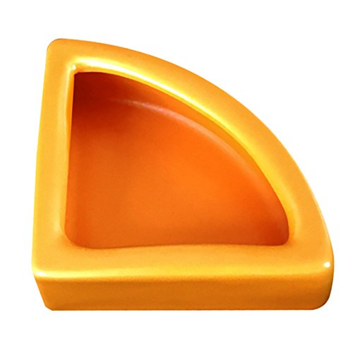413iq2F%2BJbL - Reptile Food Dish, Petforu Right Angle Shaped Worm Dish Pet Food & Water Bowl Ceramic (Orange M)