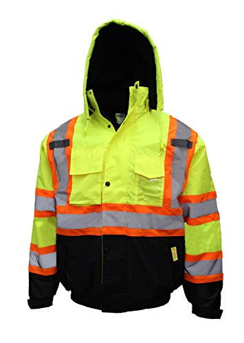 New York Hi-Viz Workwear WJX7012 Men's ANSI Class 3 High Visibility Bomber Safety Jacket with X pattern with X pattern, Waterproof (Medium, Lime)