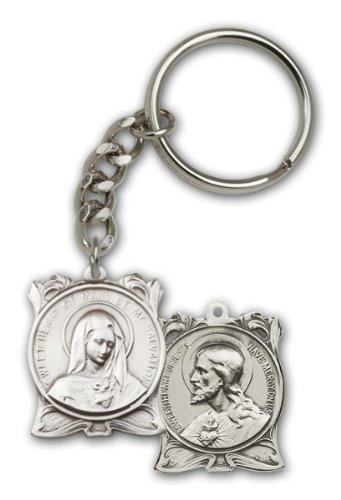 Religious Obsession Antique Silver Immaculate Heart of Mary Keychain