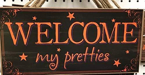 (Funlaugh Welcome My Pretties Sign Halloween Sign Wreath Attachment Wreath Sign Wreath Supplies Craft Supplies Wreath Blank Wreath Center Halloween De Wooden Crafts for Living Room)