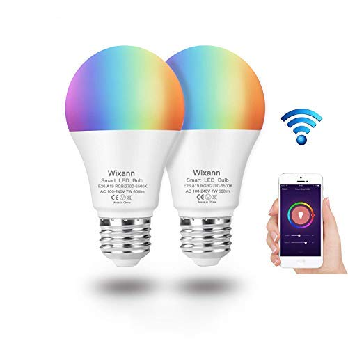 WIXANN Smart WiFi Bulb, RGBCW Wi-Fi LED Bulb A19[7W 600LM] Dimmable Multicolored Lights, No Hub Required, Compatible with Alexa and Google Home, 60W Equivalent (2 Pack) [並行輸入品] B07R91Q5F1